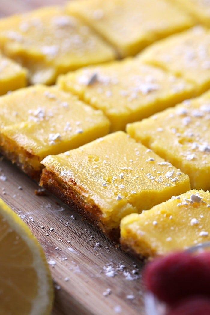 sliced healthy lemon bars with powder sugar