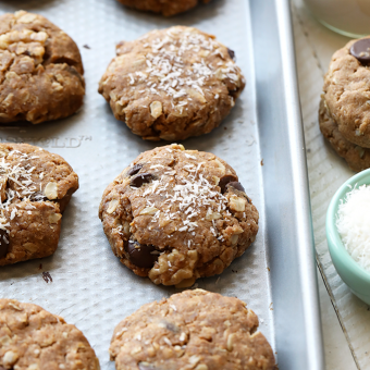 Healthy Vegan Cowboy Cookies with Peanut Butter, Coconut, and Walnuts
