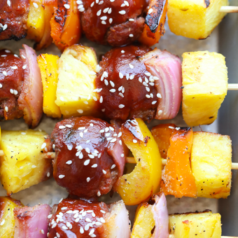 Grilled Sweet and Sour Meatball Skewers