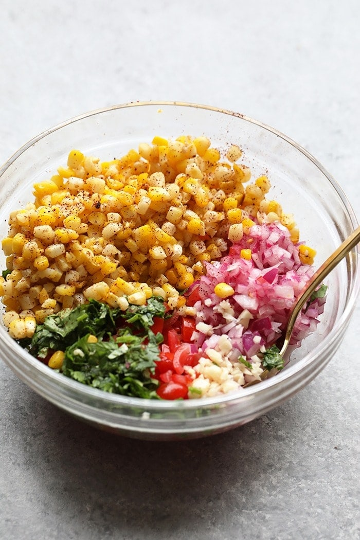 Fire Roasted Corn Pico in a bowl