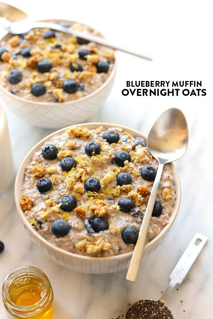 Make these Blueberry Muffin Overnight Oats tomorrow for a healthy breakfast packed with complex carbs to give you a boost in serotonin, the body's natural happiness regulator!