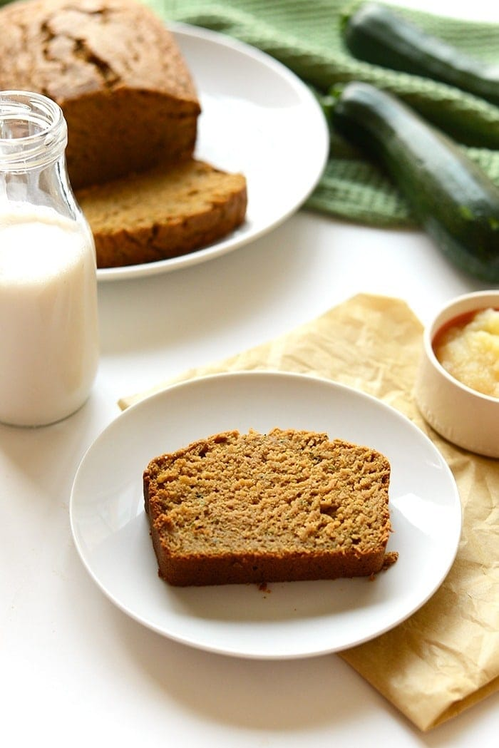 healthy zucchini bread on a plate with a glass of milk