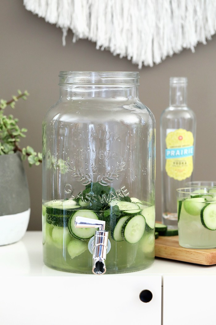 cucumber vodka drink in dispenser