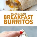 These make aheadbreakfast burritos are the perfect grab-n-go breakfast choice for your busy mornings. They are packed with veggies and protein to keep your energy up all day. Make a double batch of these freezer breakfast burritos for an easy, healthy meal-prep breakfast you can enjoy all week long.