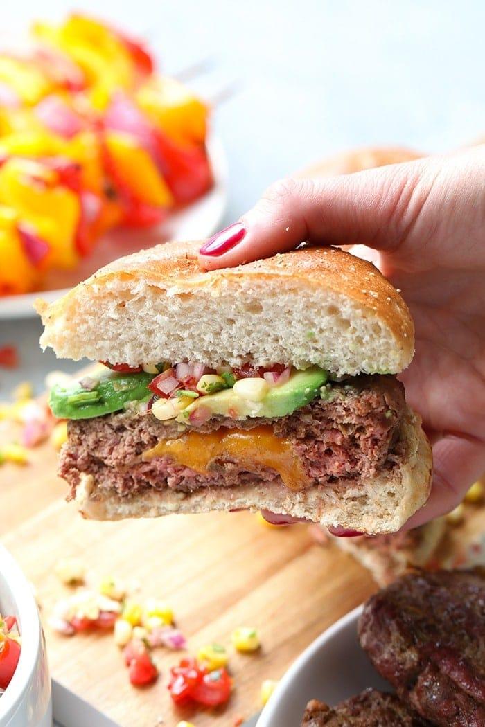 Half of a Juicy Lucy Burger in a bun