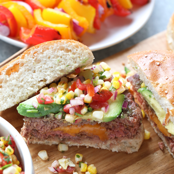 Mexican Juicy Lucys with Fire-Roasted Corn Pico