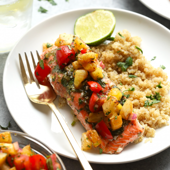 VIDEO: Foil Pack Salmon with Grilled Pineapple Salsa
