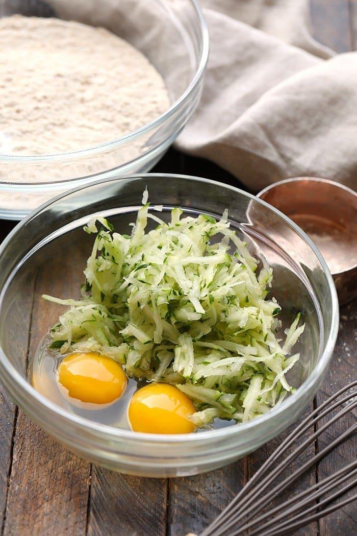 shredded zucchini and eggs
