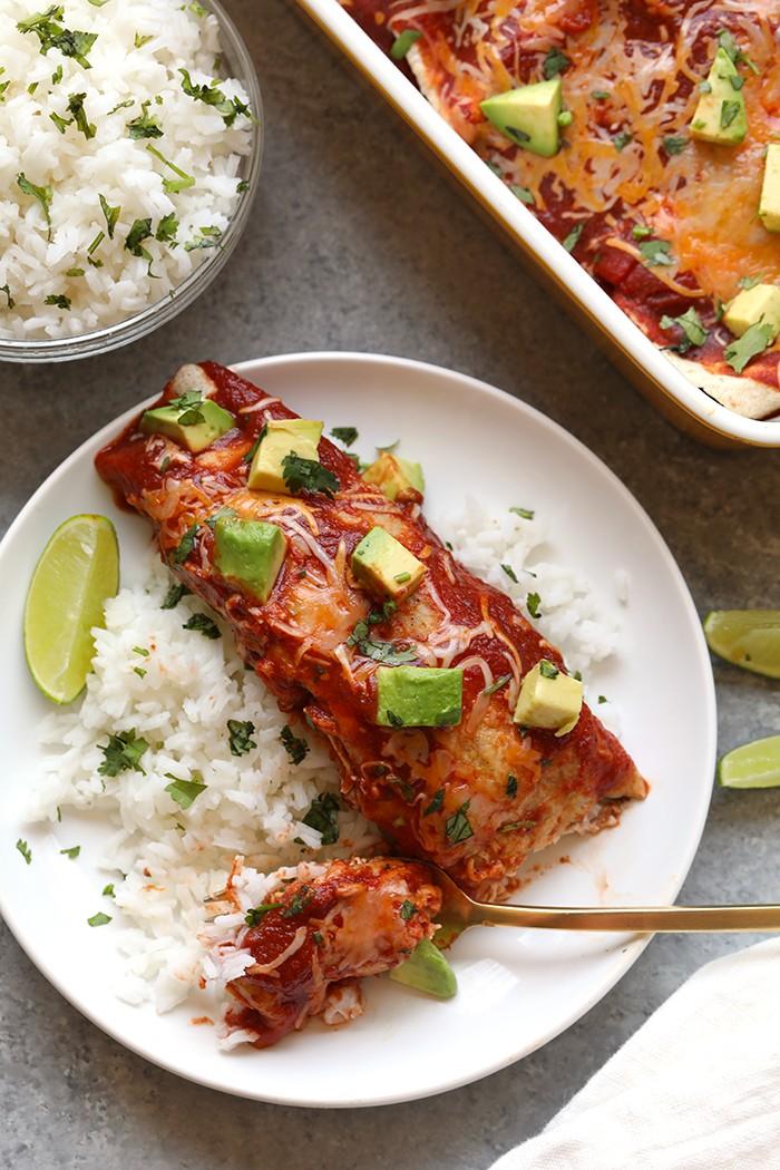 healthy chicken enchiladas on a plate