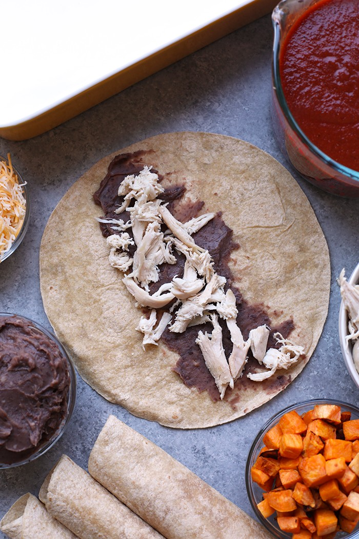 black beans and chicken in open tortilla