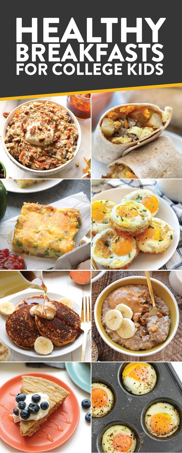 Photo collage of healthy breakfast recipes