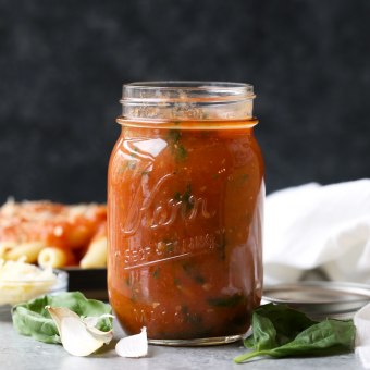 How to Make Homemade Roasted Tomato Basil Marinara Sauce (no sugar added!)