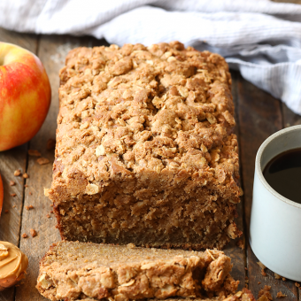VIDEO: Whole Wheat Peanut Butter Apple Streusel Bread