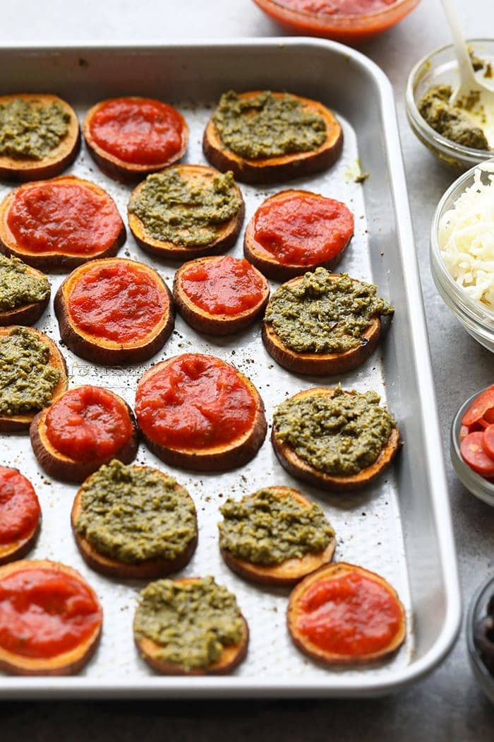 Back to school snacking never looked so good! Make these Sweet Potato Pizza Bites for the kiddos. They're customizable with a pesto or marinara base and a variety of different toppings.