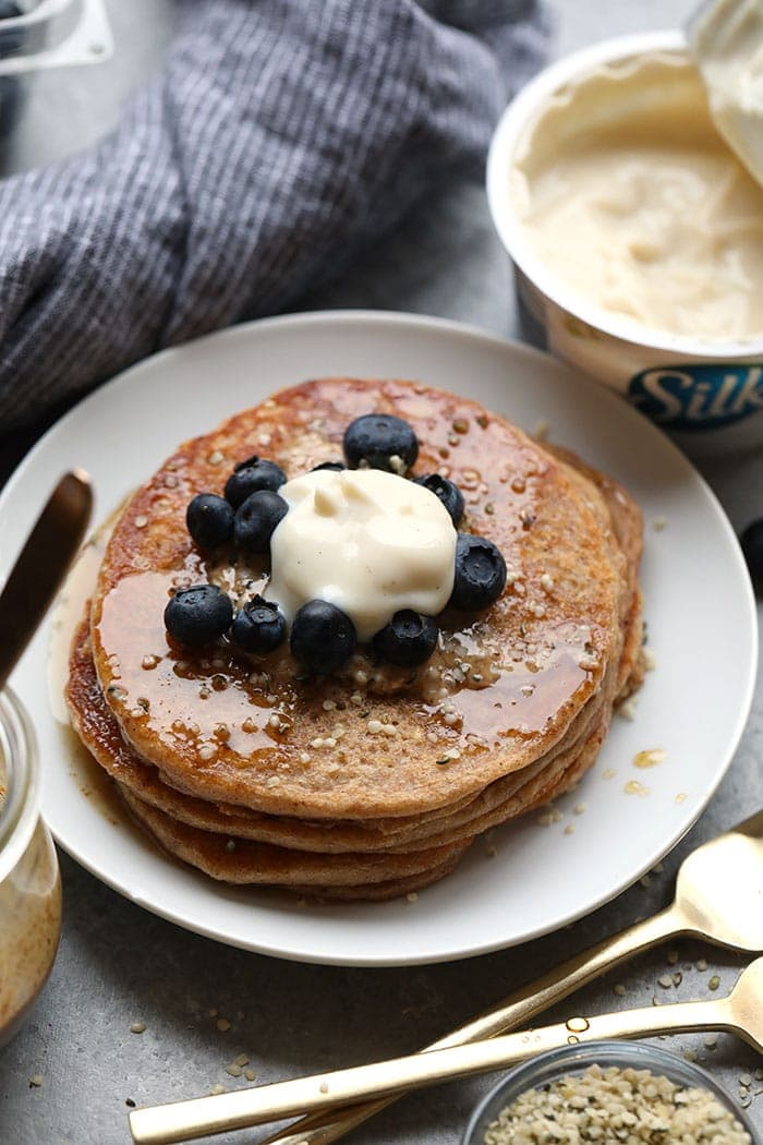 vegan pancakes with yogurt on top