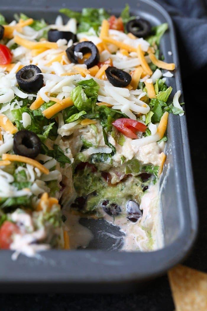 healthy taco dip in a pan
