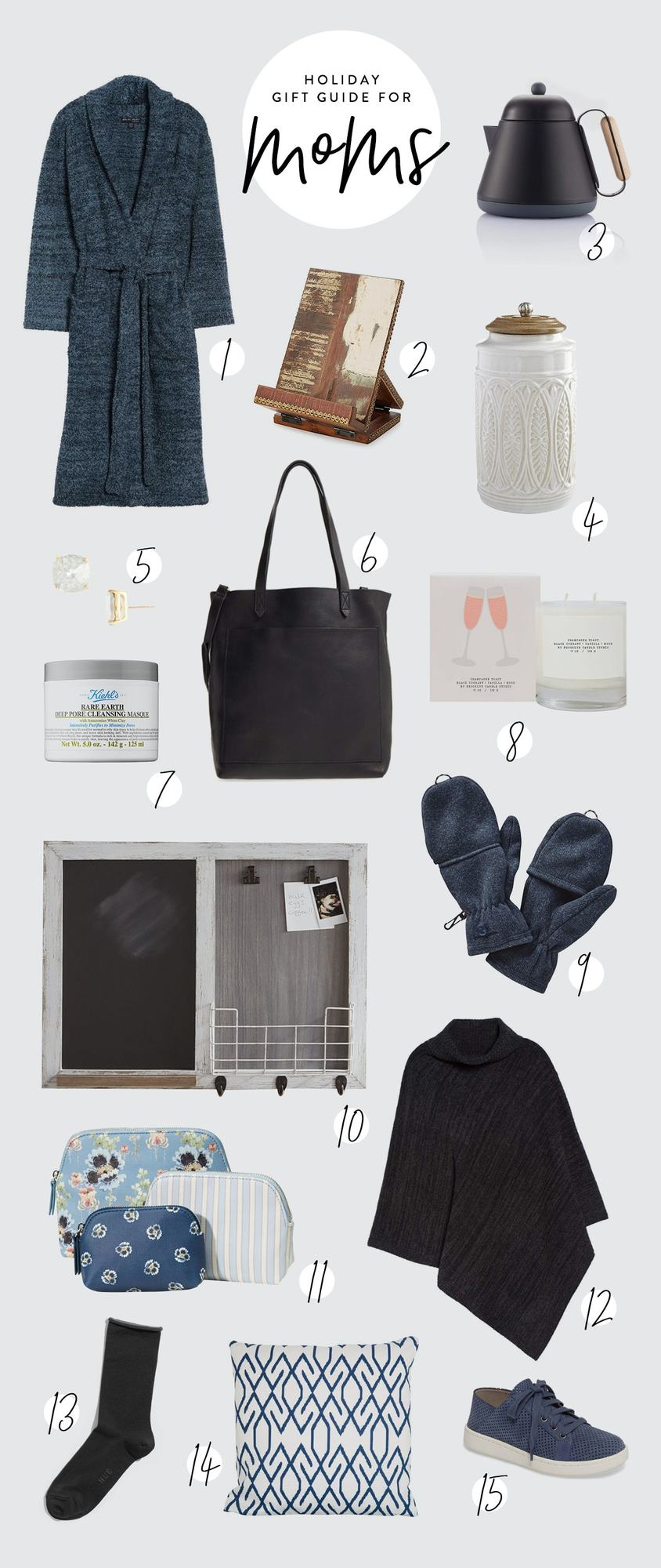 Looking to get your mom the perfect holiday gift? We've rounded up some of the best holiday gifts for moms. We pulled items at all different price points from a cozy robe to a leather tote. #holiday #giftguie #giftsformom