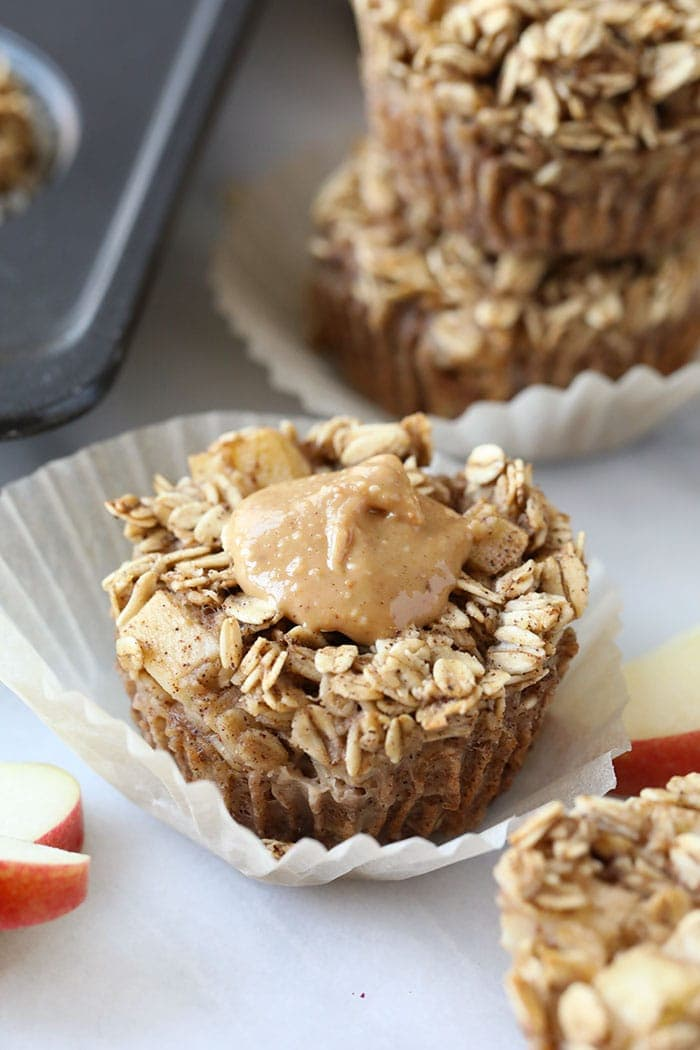 baked apple oatmeal with peanut butter