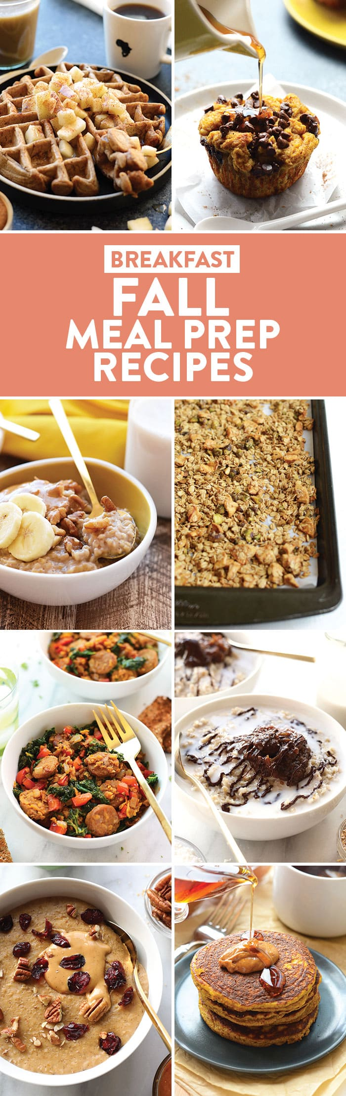 A photo collage of breakfast recipes