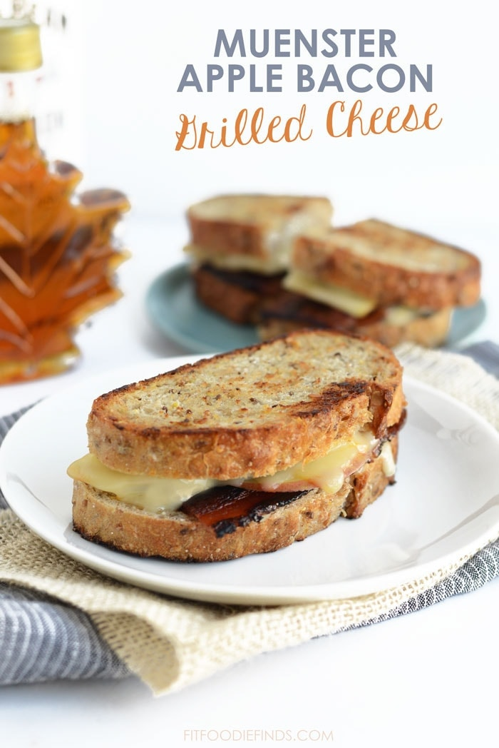 Make this recipe for a delicious, mouth-watering muenster apple bacon grilled cheese sandwich perfect for at home or packing to take to the office!