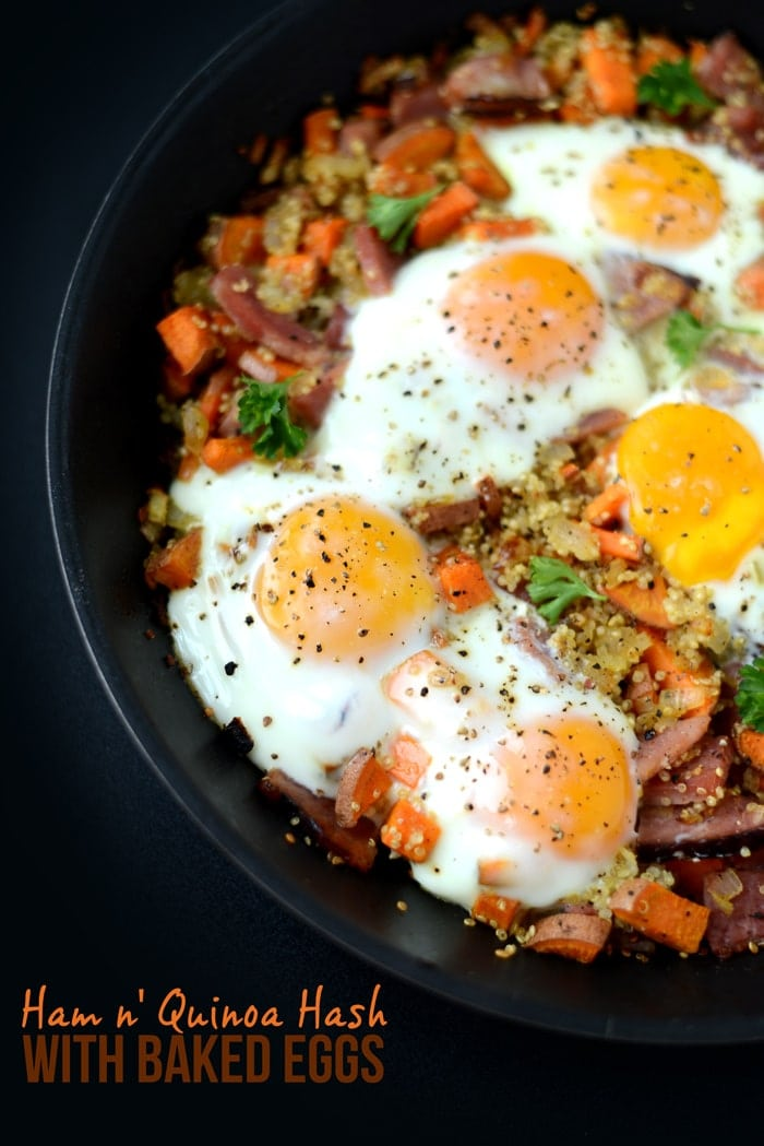 This Ham and Quinoa Hash with Baked Eggs is the perfect protein packed meal for the holidays!