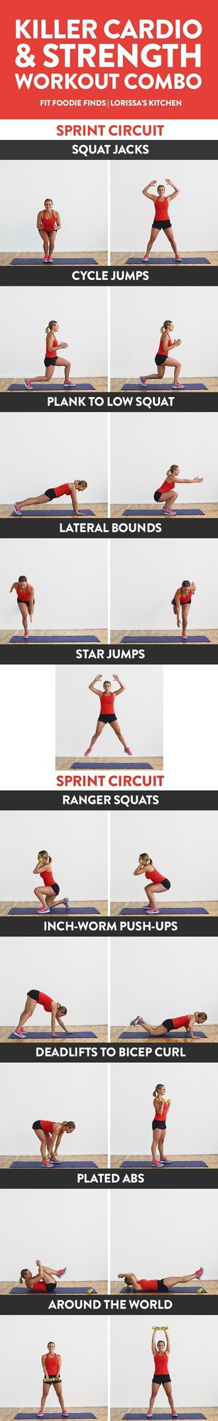 Get your sweat on and do this killer cardio and strength workout combo! It's a mixture of HIIT sprints and strength training all in one for the ultimate calorie torch.