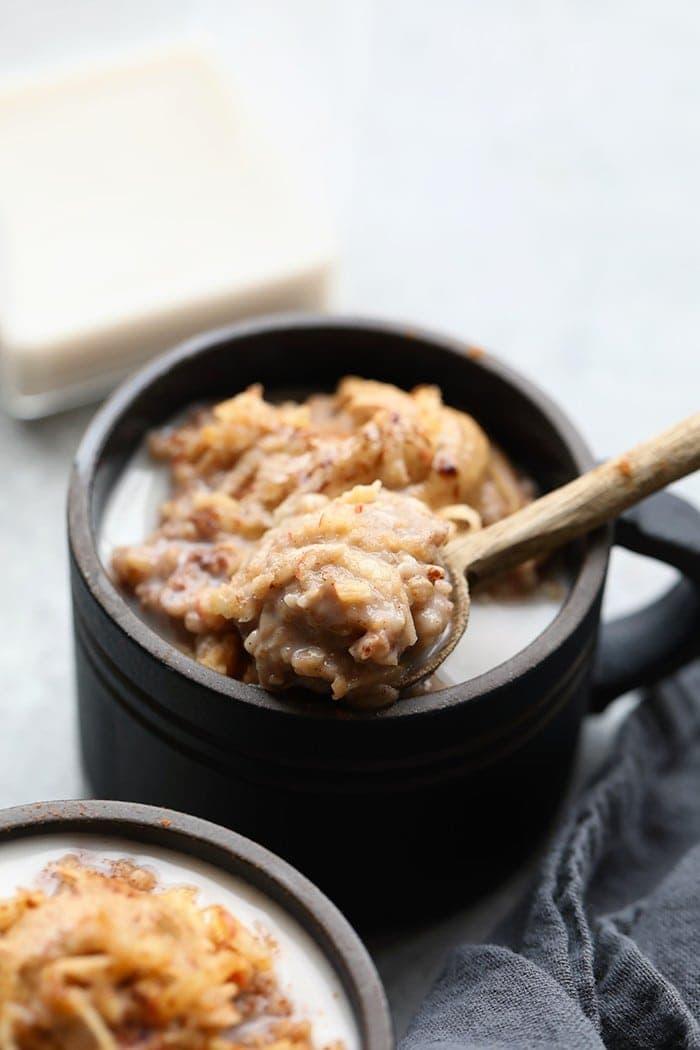 steel cut oatmeal on spoon