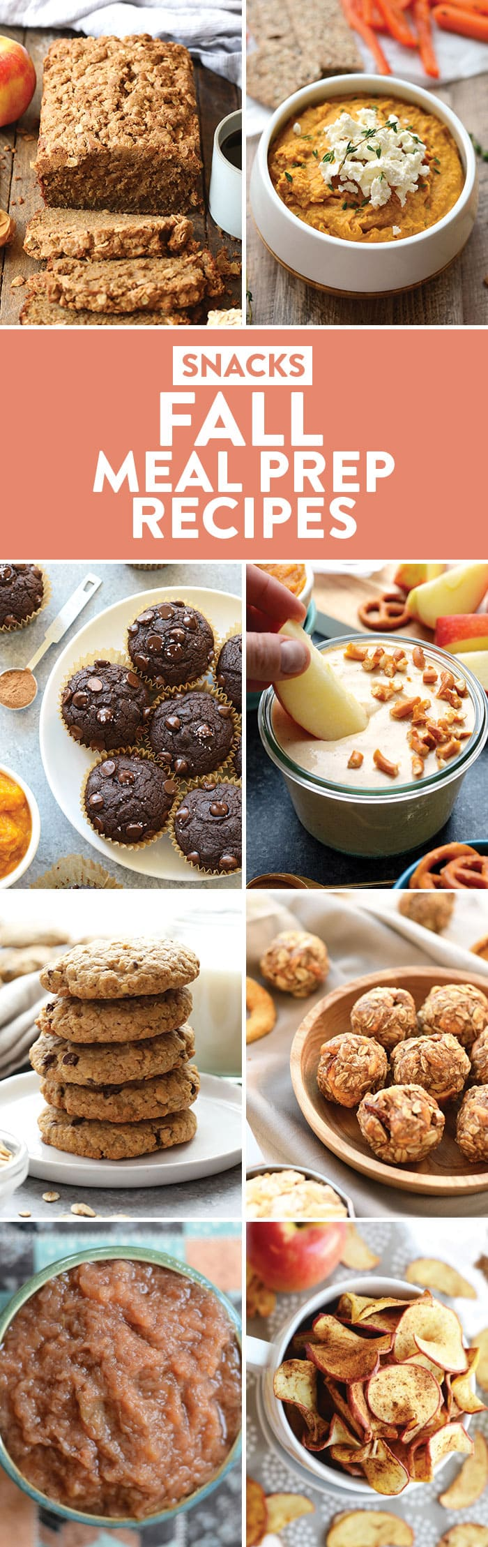 a photo collage of snack recipes