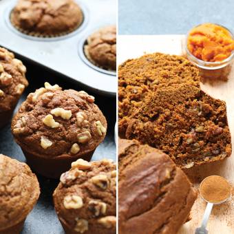 Healthy Whole Wheat Pumpkin Walnut Bread (+ Muffins!)