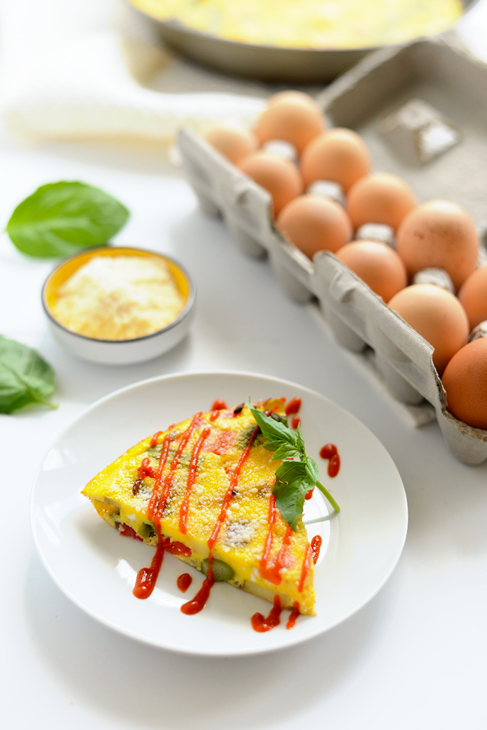Got a bunch of veggies in the fridge? Make yourself a delicious and colorful vegetable frittata with farm fresh eggs and a sprinkle of parmesan cheese for a low-carb breakfast option!