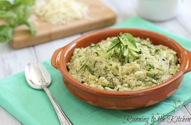 This cheesy zucchini quinoa is a great way to sneak in vegetables to a cheesy comforting dish that everyone will love.