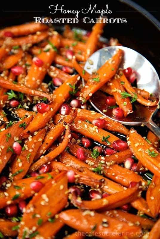 Transform the everyday humble carrot into a spectacular side with this easy Honey Maple Roasted Carrots recipe! Be sure to make plenty as they will disappear quickly!