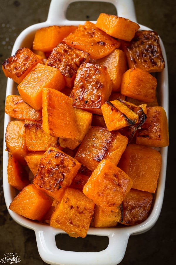 Maple Cinnamon Roasted Butternut Squash makes an easy, healthy & delicious side dish perfect for Thanksgiving, Christmas or any holiday gathering. The best part this is that it's easy to customize for various diets. It's gluten free, paleo friendly and refined sugar free.