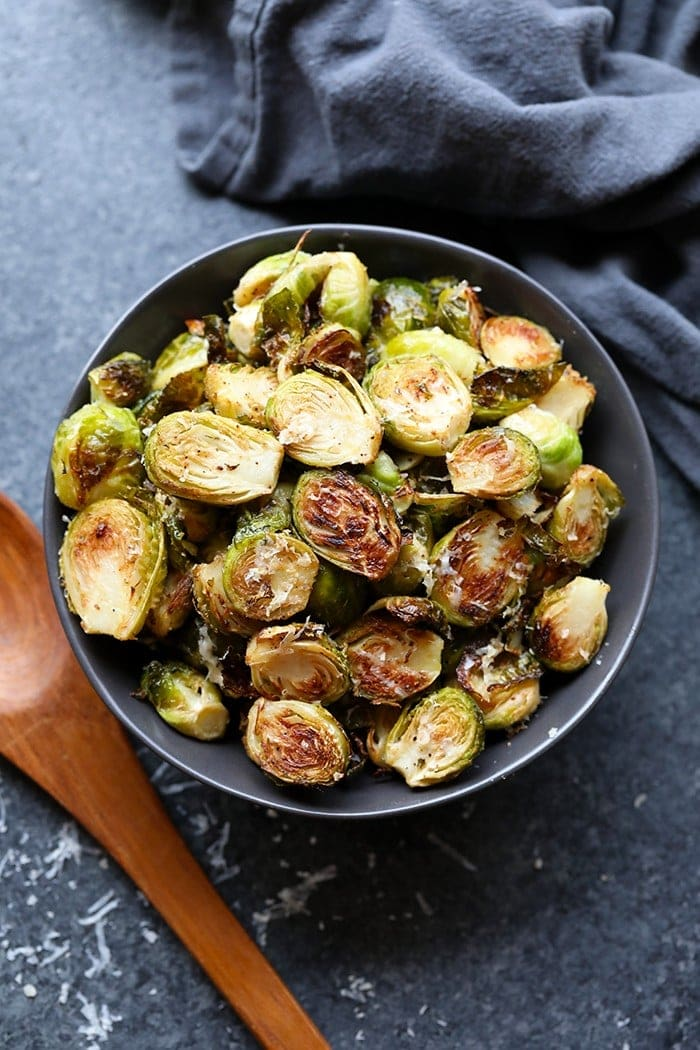 roasted brussels sprouts with parmesan in a bowl