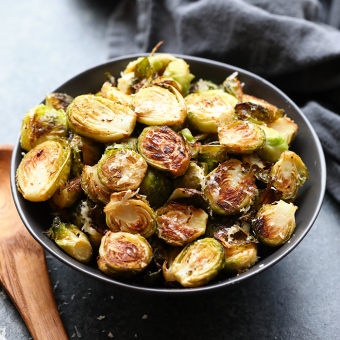 The World's Best Parmesan Garlic Roasted Brussels Sprouts