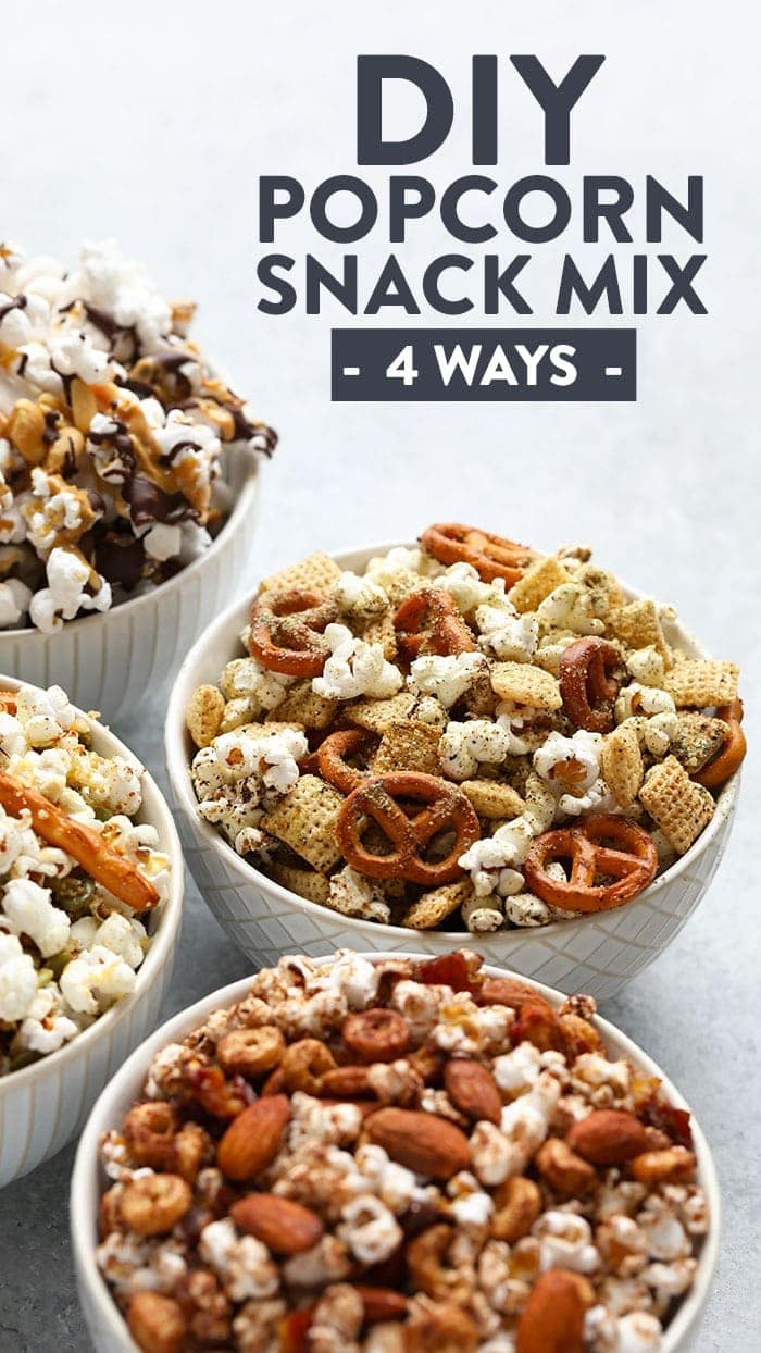 All of the snack mixes in bowls