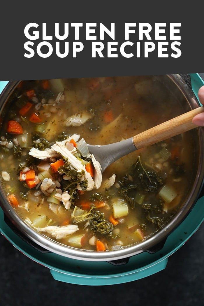 An image of an Instant Pot soup with overlay text that says gluten free soup recipes