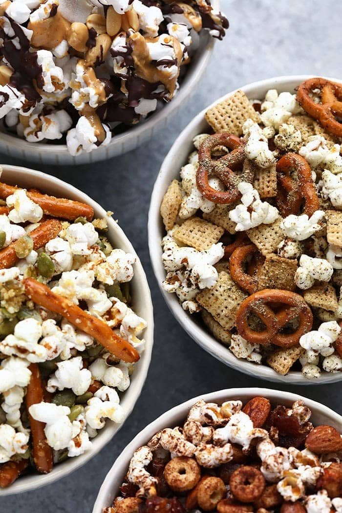 Finished snack mixes in bowls
