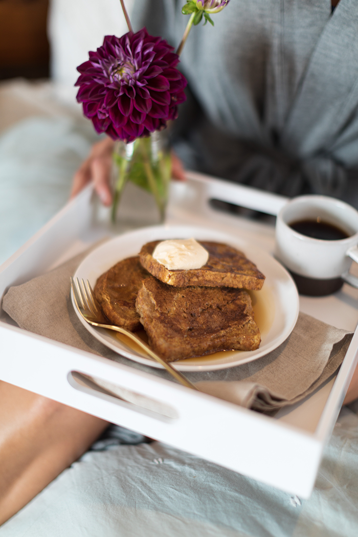 Why get out of your it™ bed when you can have breakfast in bed? This flavorful Pumpkin French Toast is made with sprouted bread and pumpkin puree and topped with a delicious pumpkin coconut whipped cream!