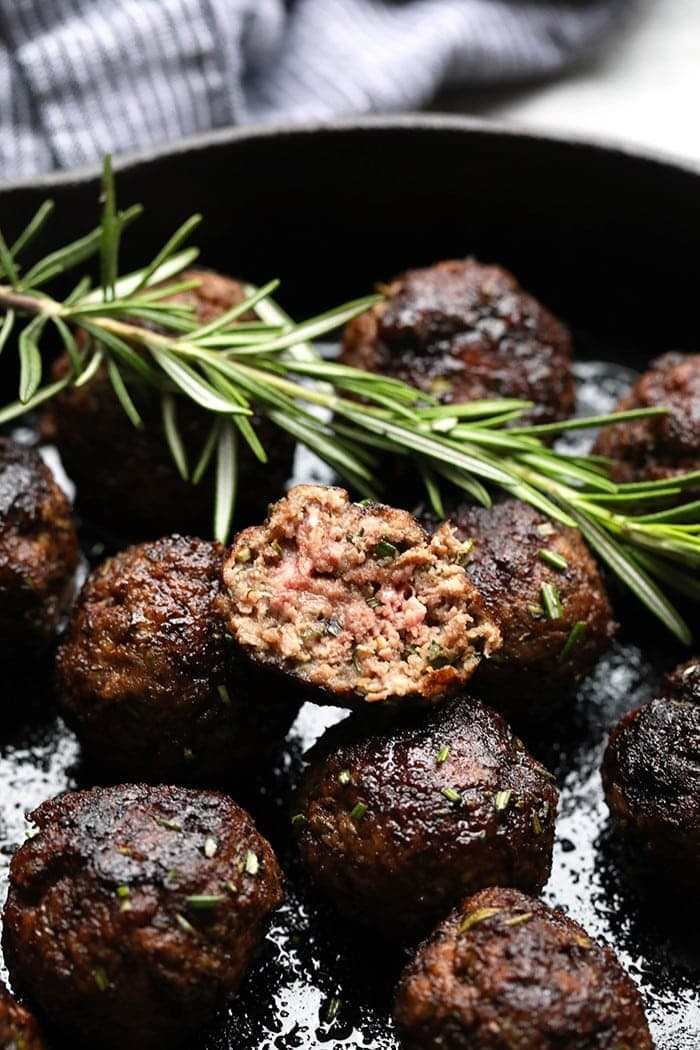 Whether you are looking for a holiday appetizer, meal-prep for the week, or a game-day treat, these Healthy Rosemary Thyme Balsamic Meatballs are perfect for every occasion!