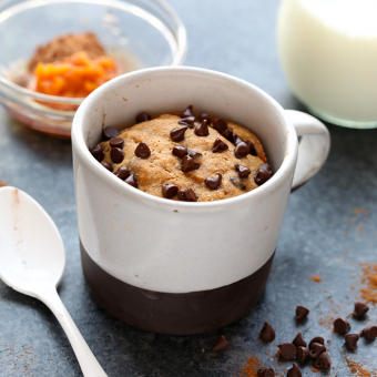 Single-Serve HEALTHY Pumpkin Mug Cake with Chocolate Pumpkin Frosting