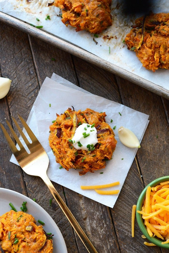 I can't wait for you to make your holiday guests these Baked Cheddar Sweet Potato Fritters made with a base of grated sweet potato and sharp cheddar cheese.