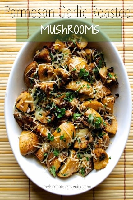 Roasted Mushrooms with garlic and parmesan cheese make the perfect side dish recipe. I love these over a grilled steak or chicken. It is an easy vegetable idea for Thanksgiving or Christmas dinner that will make anyone a mushroom lover, even kids!