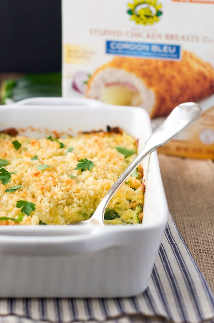his Garlic Parmesan Zucchini Casserole pairs beautifully with a prepared Chicken Cordon Bleu from Barber Foods, creating an easy family-friendly dinner that comes together in minutes. Let the oven do the work while you put your feet up, take a deep breath, and focus on what's really important!