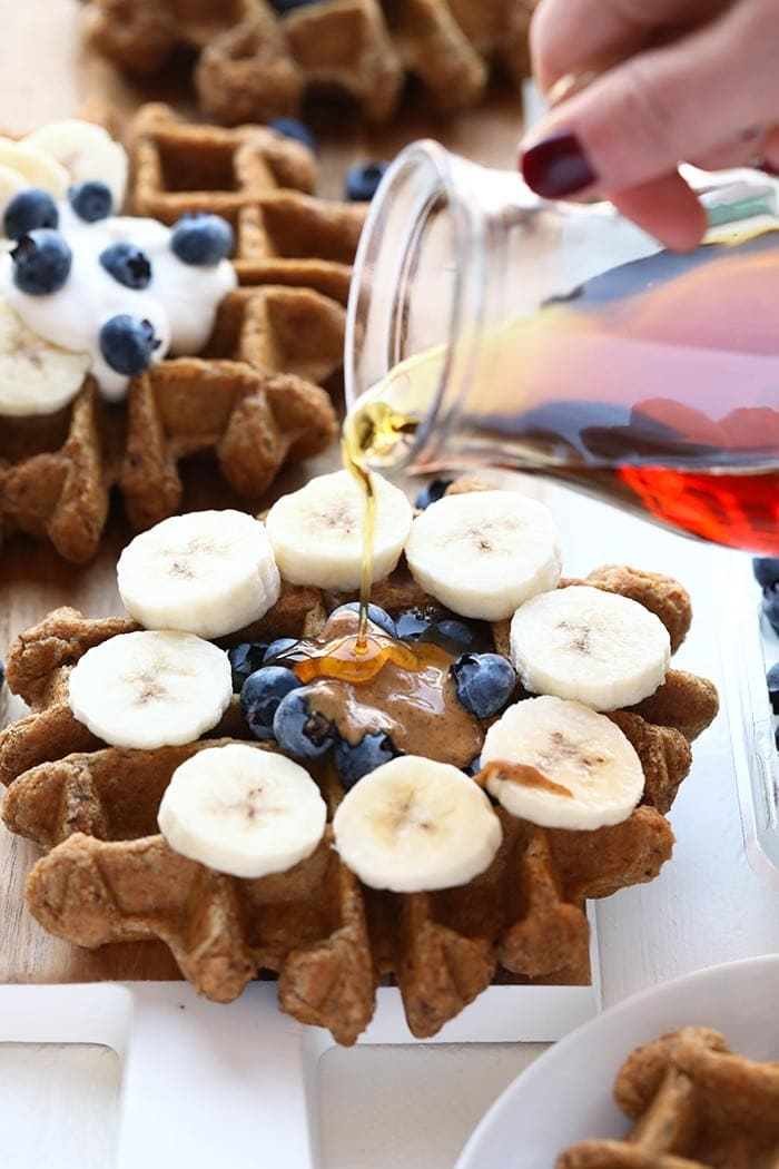 There's no dairy, eggs, or refined sugar in these Vegan Almond Butter Banana Bread Waffles. Make them during any time of year for a delicious, healthy, and freezer-friendly breakfast!