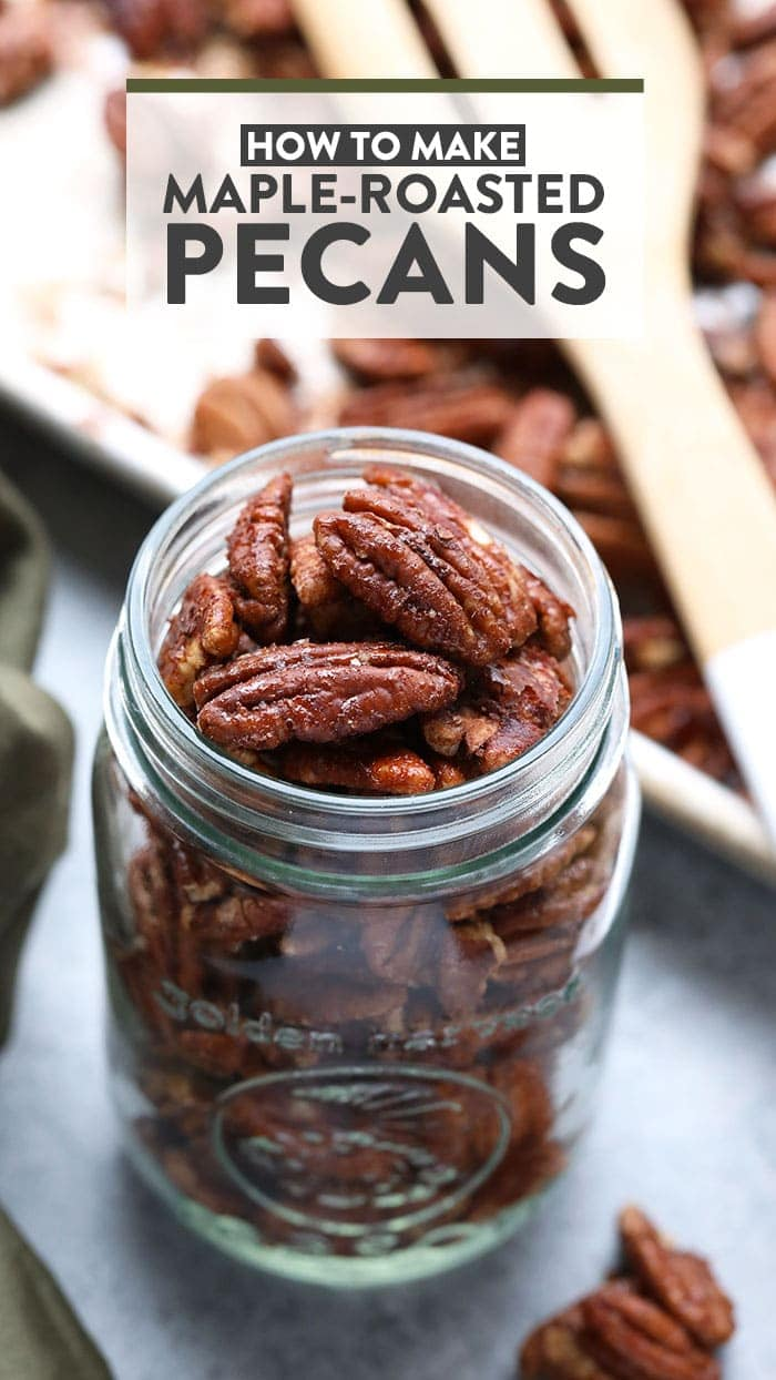 Roasted maple pecans in a glass