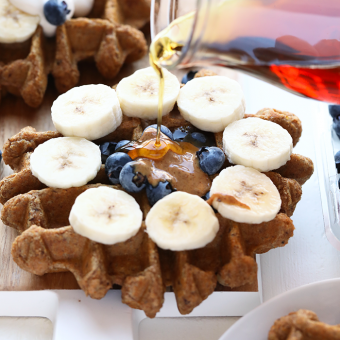 Vegan Almond Butter Banana Bread Waffles (Whole Wheat!)