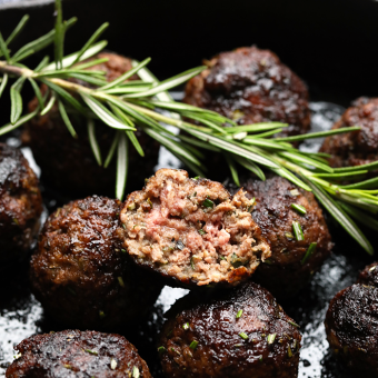 Healthy Rosemary Thyme Balsamic Meatballs