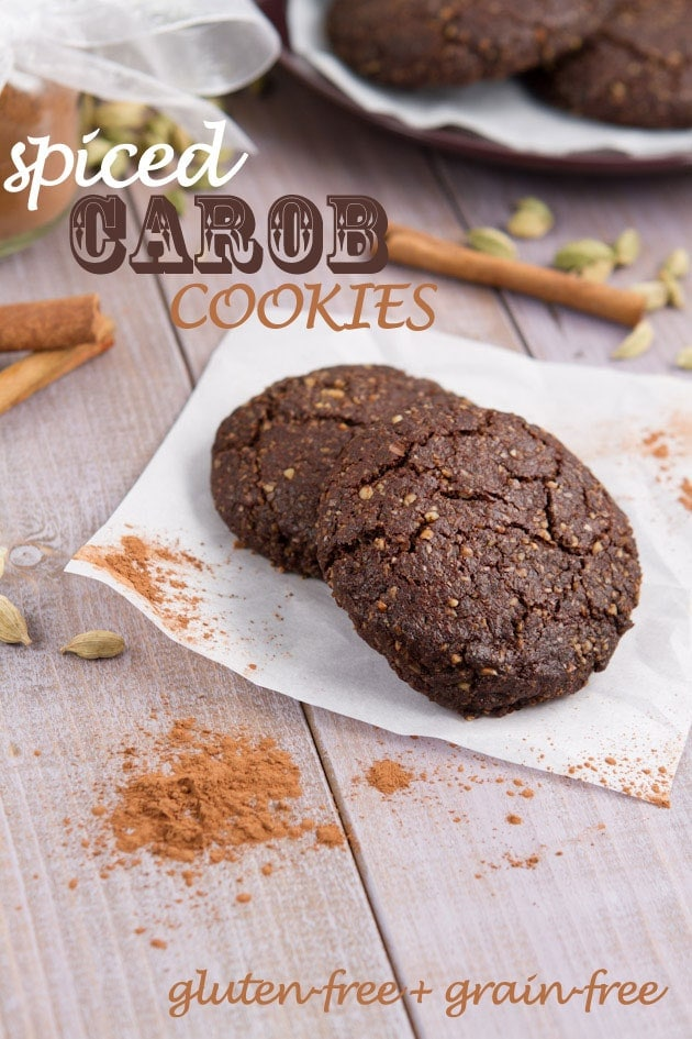 Chewy carob cookies with a hint of cardamom and cinnamon.