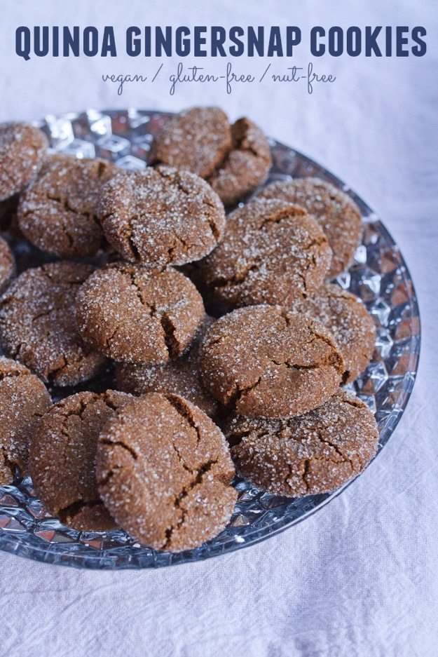 Gluten-free, vegan gingersnap cookies made with quinoa flour! They're crunchy on the outside, chewy on the inside and absolutely delicious!